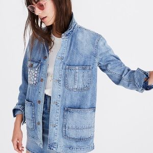 Madewell Embroidered Blue Denim Chore Coat S